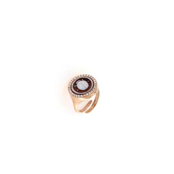 Anello in argento 925% con cammeo sardonica e swarovski coccinella-0