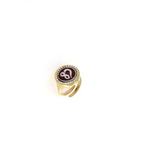 Anello in argento 925% con cammeo sardonica e swarovski cuore infinito-0