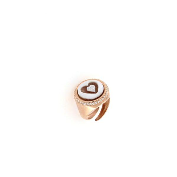Anello in argento 925% con cammeo sardonica e swarovski cuore diamante-0
