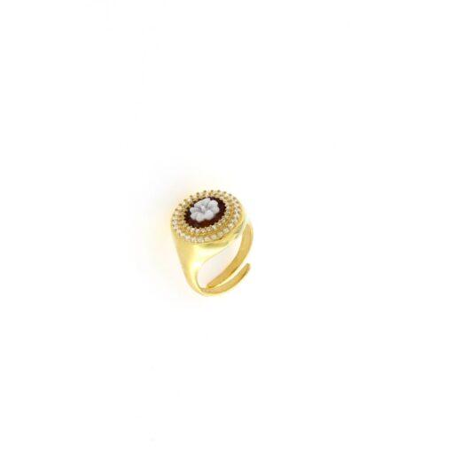 Anello in argento 925% con cammeo sardonica e swarovski fiore-0