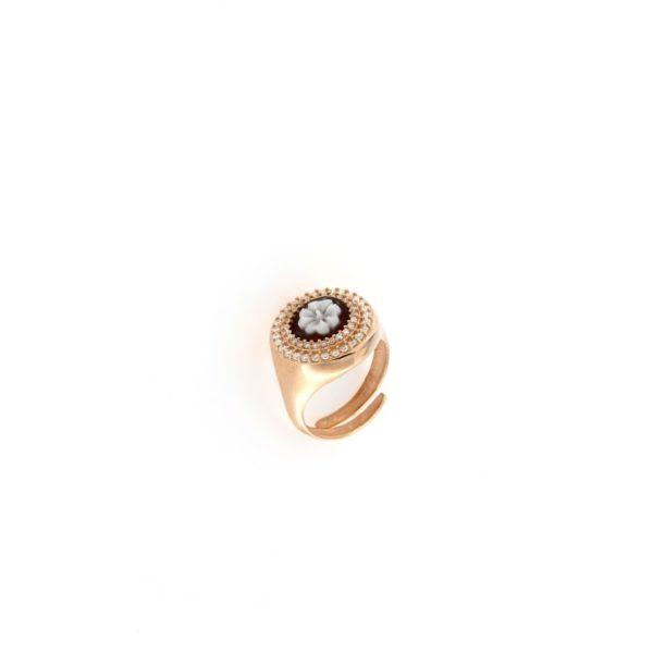 Anello in argento 925% con cammeo sardonica e swarovski fiore -0