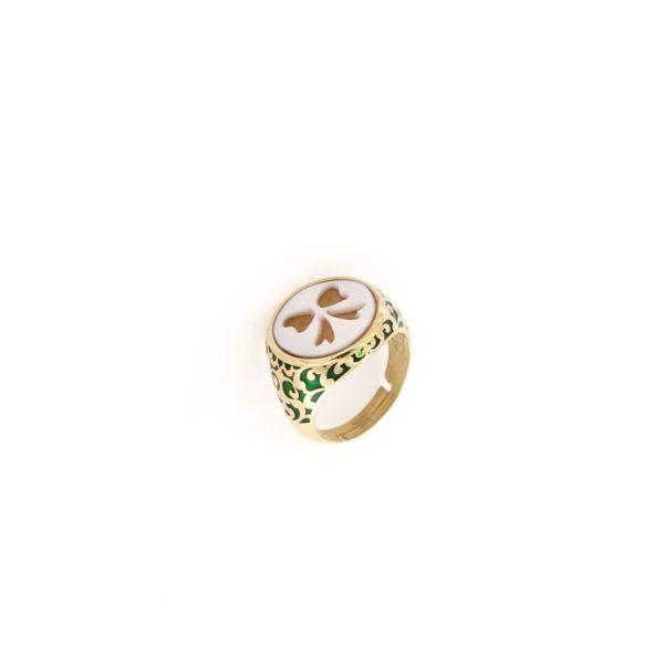 Anello regolabile smaltato con cammeo sardonica in argento 925%-0