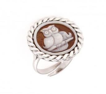 Anello regolabile in argento 925% con cammeo sardonica gufo-0