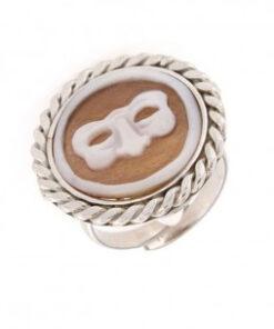 Anello regolabile in argento 925% con cammeo sardonica maschera-0