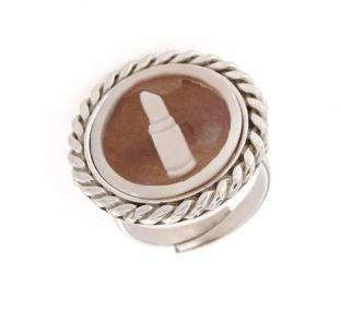 Anello regolabile in argento 925% con cammeo sardonica rossetto-0