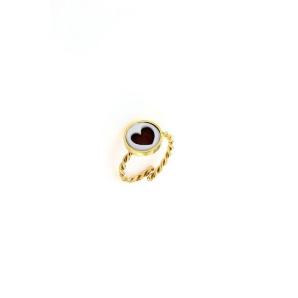 Anello in argento 925% e cammeo sardonica cuore-0