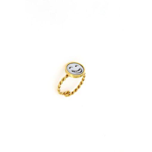 Anello in argento 925% e cammeo sardonica smile-0