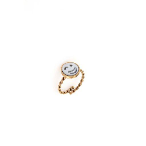 Anello in argento 925% e cammeo sardonica smile -0
