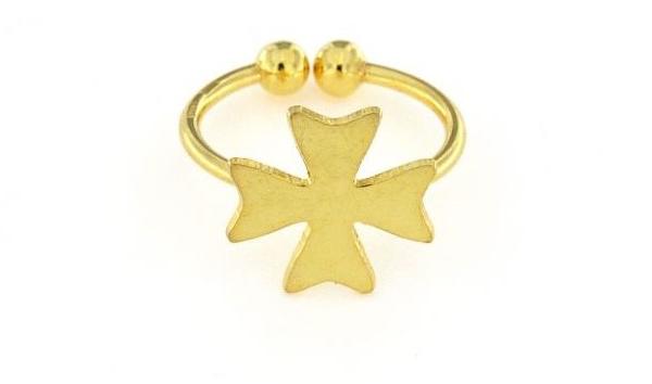 Anello in argento 925% regolabile croce dorata-0