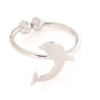 Anello in argento 925% regolabile delfino argento bianco-0