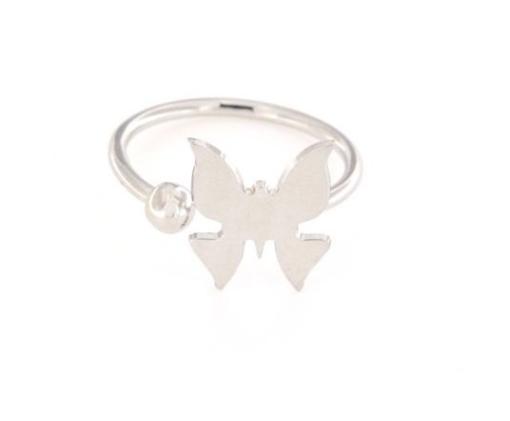 Anello in argento 925% regolabile farfalla argento bianco-0