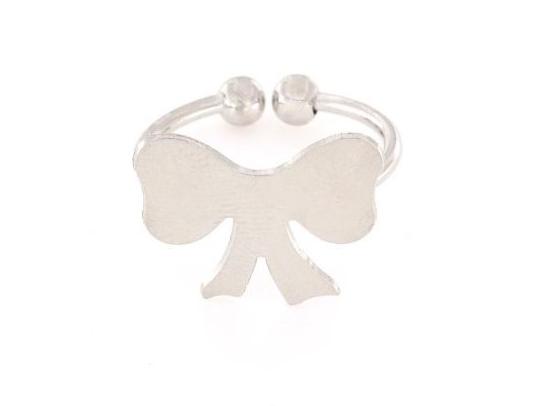 Anello in argento 925% regolabile fiocco argento bianco-0