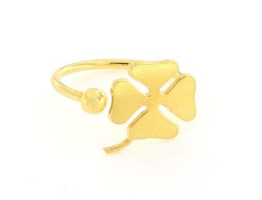 Anello in argento 925% regolabile quadrifoglio dorato-0