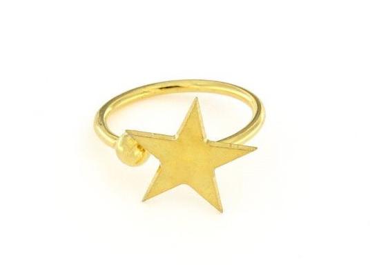 Anello in argento 925% regolabile stella dorata-0