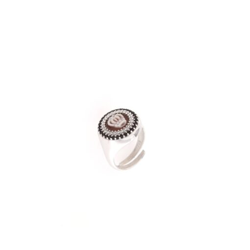 Anello in argento 925% con cammeo sardonica -0