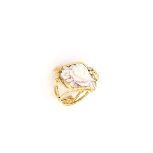 Anello regolabile in argento 925% e cammeo sardonica-0