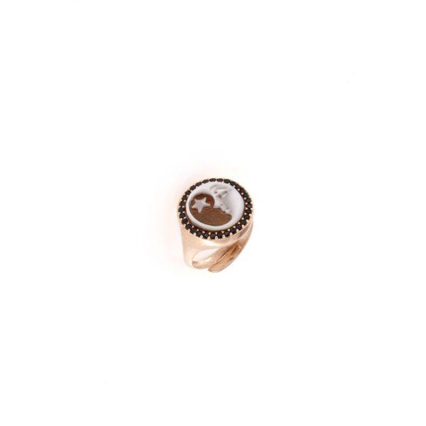 Anello in argento 925% con cammeo sardonica e swarovski-0