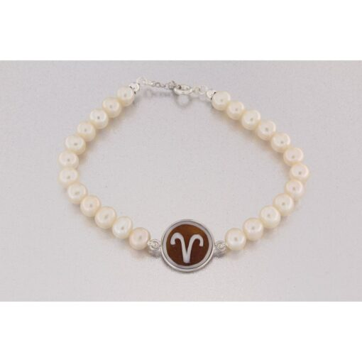 Bracciale in argento 925% perla e cammeo sardonica-0