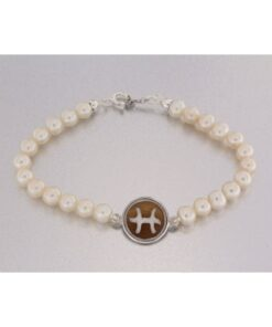 Bracciale con perla naturale e cammeo sardonica in argento 925% -0