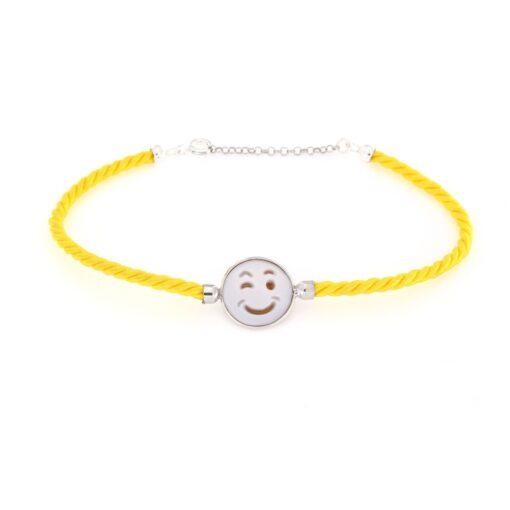 Bracciale cordoncino setato e cammeo sardonica in argento 925% smile -0