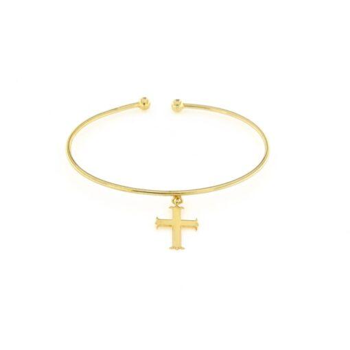 Bracciale rigido in argento 925% con ciondolo pendente croce dorata-0