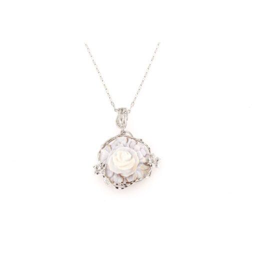 Ciondolo in argento 925% e cammeo sardonica rosa-0