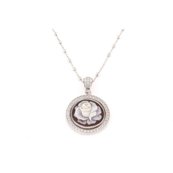 Ciondolo in argento 925% con cammeo sardonica-0