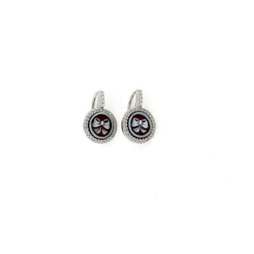 Orecchini in argento 925% e cammeo sardonica-0