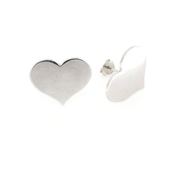Orecchini a pressione in argento 925% cuore argento bianco-0