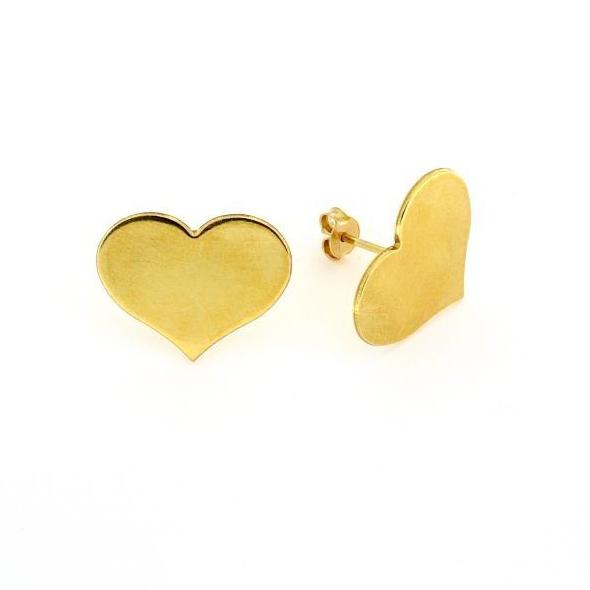 Orecchini a pressione in argento 925% cuore dorato-0