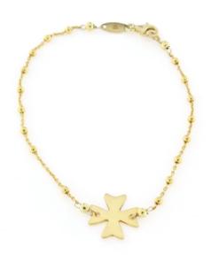 Bracciale croce a catena in argento 925% croce dorata-0