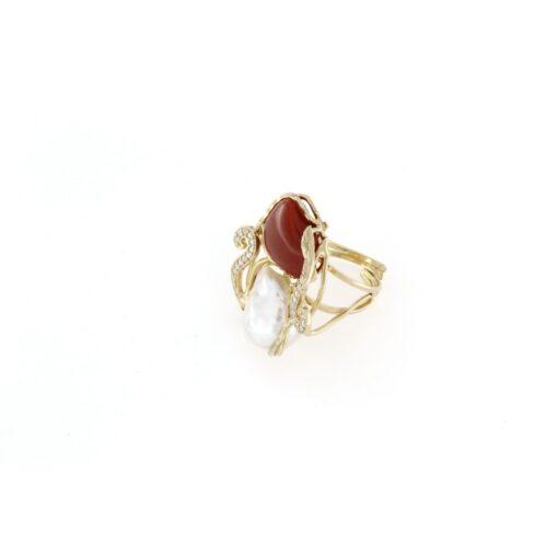 Anello regolabile con perla barocca in argento 925%-0