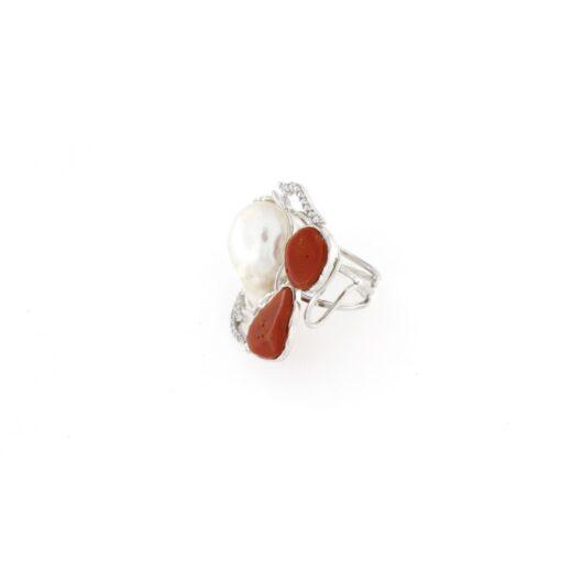 Anello regolabile con perla barocche in argento 925%-0