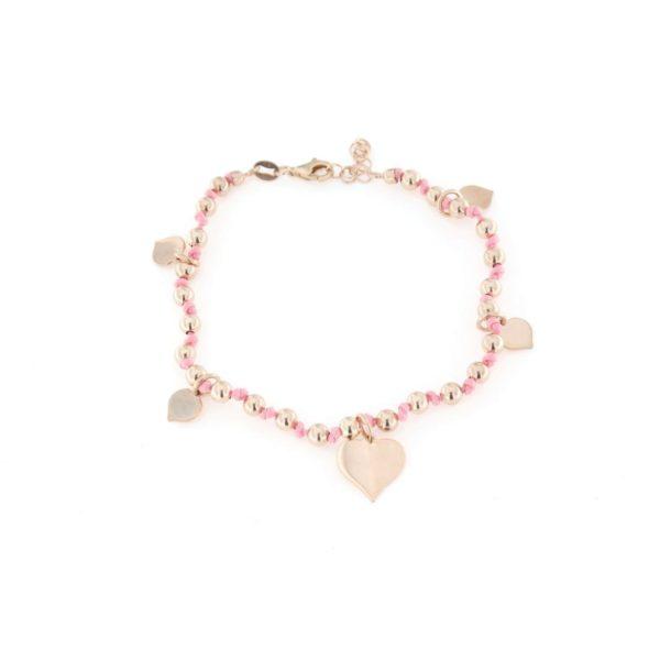 Bracciale cordoncino rosa con pendenti in argento 925%-0