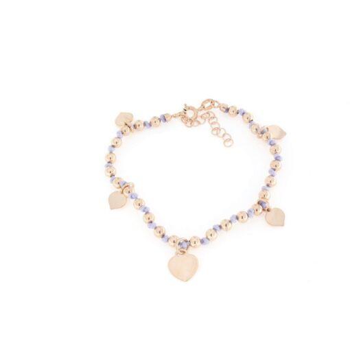 Bracciale cordoncino colorato lilla con cuori pendenti in argento 925%-0