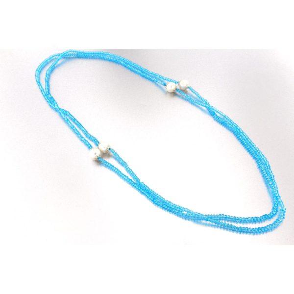 Collana con perle coltivate e agata blu in argento 925%-0