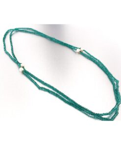 Collana con perle coltivate e giada verde in argento 925%-0