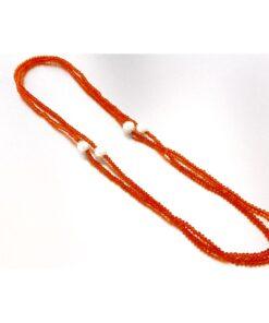 Collana con perle coltivate e agata arancione in argento 925%-0