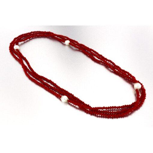 Collana con perle coltivate e agata rossa in argento 925%-0