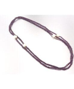 Collana con perle barocche e ametista in argento 925%-0