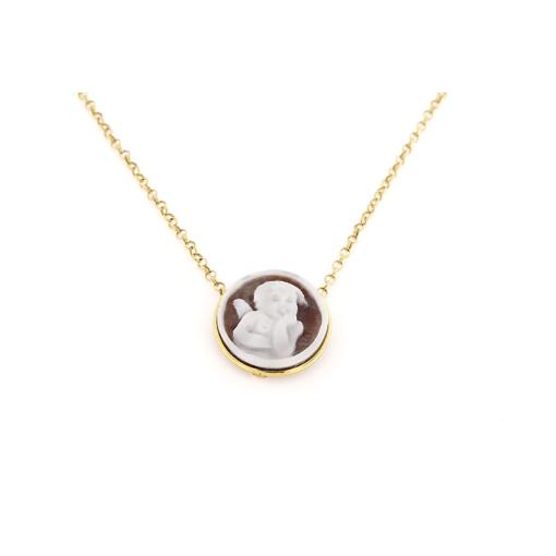 Collana in argento 925% con cammeo sardonica puttino argento dorato-0