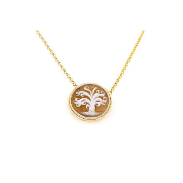 Collana in argento 925% con cammeo sardonica albero della vita argento dorato-0