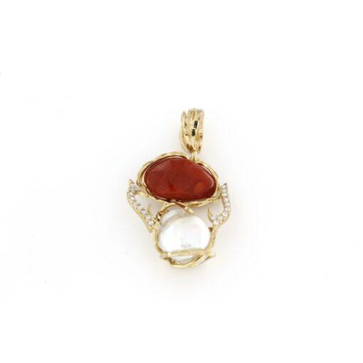 Ciondolo in argento 925% con perle barocche e corallo-0