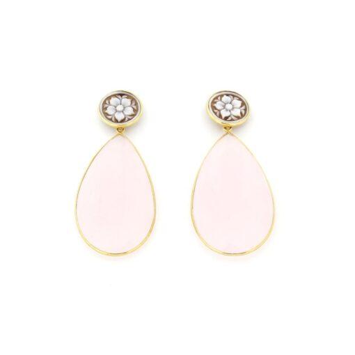 Orecchini pendenti quarzo rosa in argento 925%-0