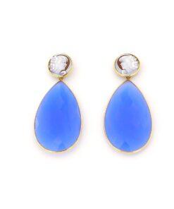 Orecchini pendenti con pietra di agata blu in argento 925% -0