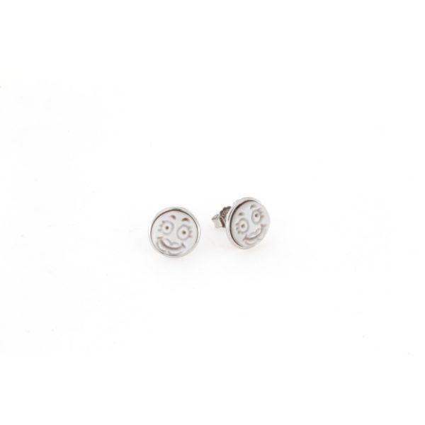 Orecchini in argento 925% con cammeo sardonica smile argento bianco-0