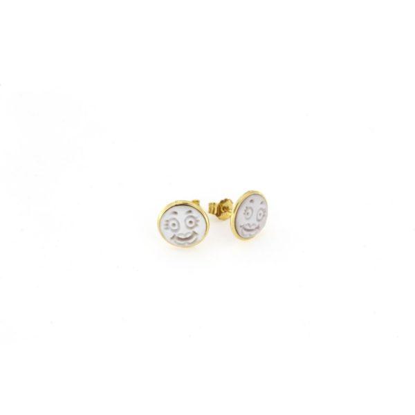Orecchini in argento 925% smile con cammeo sardonica in argento dorato-0