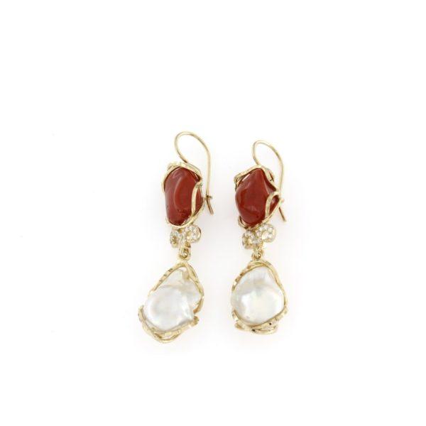 Orecchini in argento 925% perle barocche e corallo-0