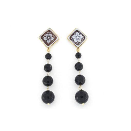 Orecchini pendenti onice nera e cammeo sardonica in argento 925%-0