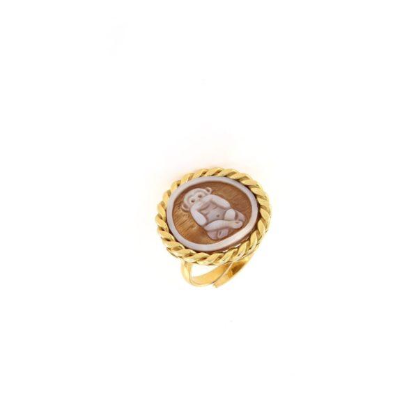 Anello regolabile intrecciato in argento 925% cammeo sardonica -0